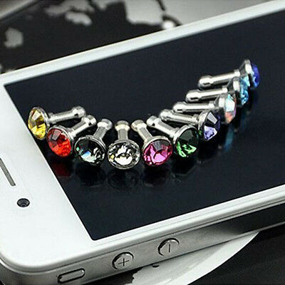 HotSell 2set 3.5Mm Crystal Dust Plug Earphone Jack For Iphone 5S 4S 6 6S/plus