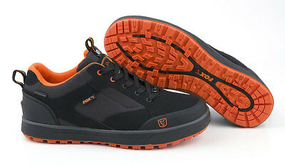 FOX NEW BLACK & ORANGE CARP FISHING TRAINERS / SHOES - All Sizes - NEW FOR 2017