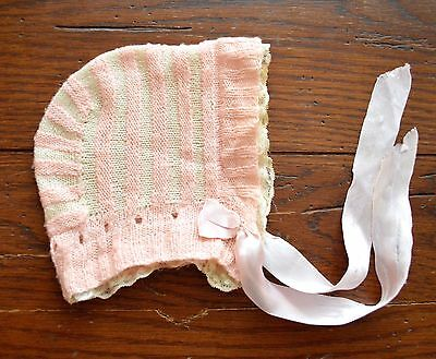 Vintage Hand Knit Babys Bonnet Pink & Ivory Stripes Lace Brim Trim Satin Ties