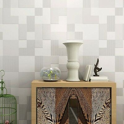 10M 3d Wallpaper Plain Mosaic Lattice Personalized Gray Silver Abstract Bedroom
