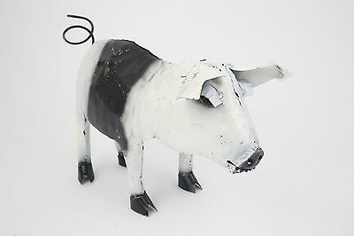 Recycled Metal Standing Pig-Garden-Patio-Outdoors-10Wx20Lx12H-Black and White