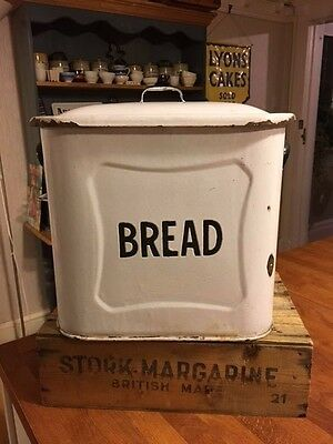 Vintage Traditional White Enamel Bread Bin – Black Trim – Kitchenalia! –