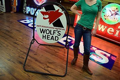 Original NOS Wolfs Head Oil Curb Sign 2 sided with Stand Gas Station Service adv