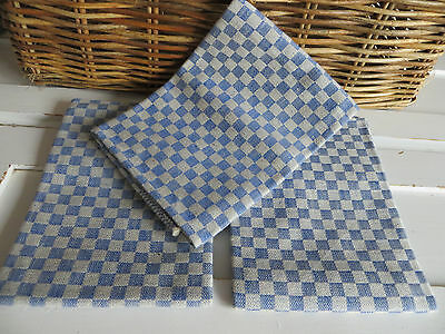 """Unused Set Of Three ( 3 ) Checkerboard Blue Linen + Cotton Towels 17 """" by 32 """""""