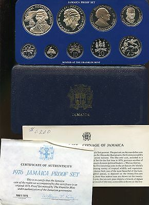 Jamaica ~ 1976 Proof Set ~ Includes Silver Coins ~ 9 Coins ~ Case & Coa