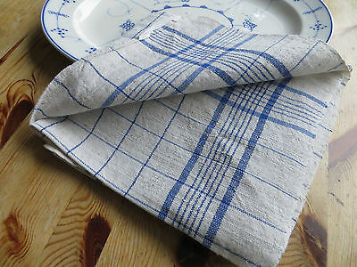 Unused German   Handwoven Thickly   Linen Towel Runner Blue Stripes Dish Cloth