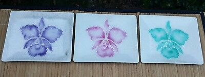 Set of 3 ORCHID Ceramic Glass Side Appetizer Dishes ~ Pink, Purple & Green