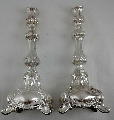 "12"" high Pair of Candlesticks - Judaica - Sterling Silver 925 - Weight: 532 g"