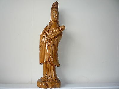 Large Chinese Wooden Made Hand Carved Woman Buddha Statue Figure