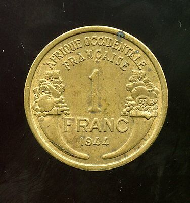 French West Africa ~ 1944 ~ 1 Franc ~ Xf