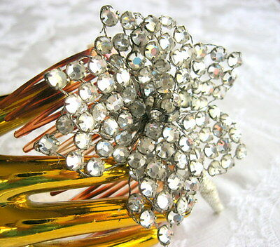 Vintage Rhinestone Floral Flower Hair Comb Accessory - Sparkely Art Deco Flapper