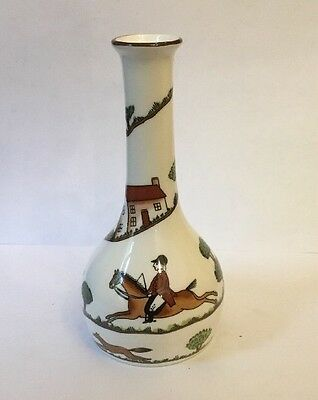 "Crown Staffordshire / Coalport Hunting Scene 6"" Small Bud Vase"