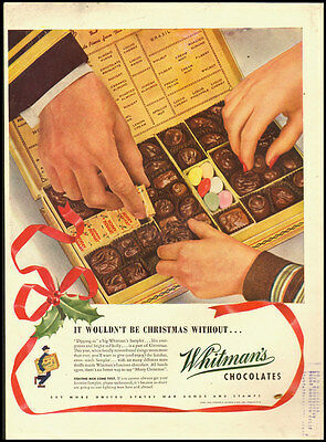 1943 vintage WW2 Christmas ad for Whitman's Chocolate Candy  -031812