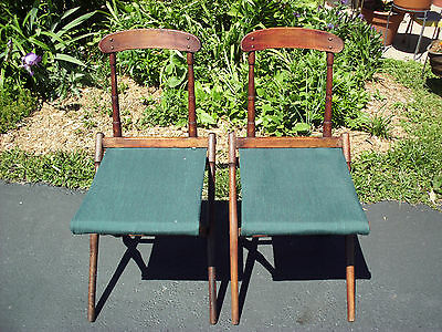 Antique Pair National Casket Co Folding Funeral Chairs Winnebago Coleman Camping