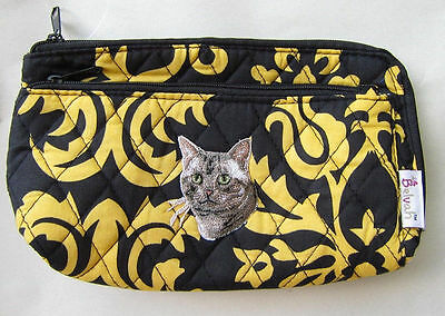 Q cosmetic TABBY CAT FACE Quilted Damask Yellow Dble Zip Cosmetic Bag