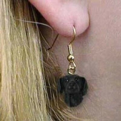 Dangle French Wire FLAT-COAT RETRIEVER Dog Earrings CLEARANCE SALE