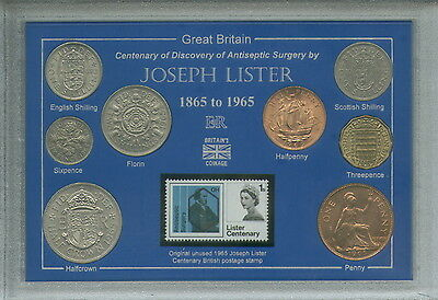 Joseph Lister Antiseptic Surgery Discovery Biology Coin & Stamp Gift Set 1965