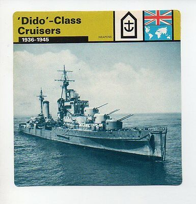Dido -Class Cruisers - Navy - Weapons - WWII Card