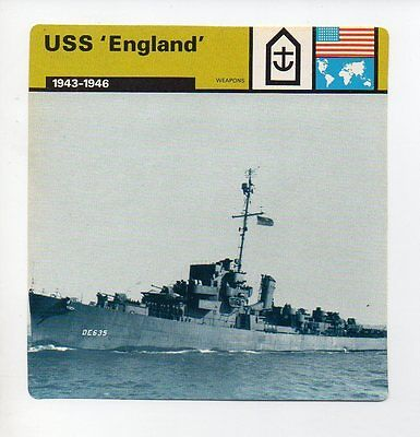 USS England - Navy - Weapons - WWII Card