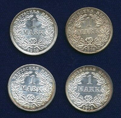Germany Empire  1914-A-D-F-G,  1 Mark Silver Coins, Uncirculated, Lot Of (4)
