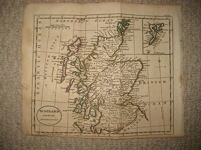 Superb Antique 1790 Scotland Copperplate Map Shetland Isles Rofshire Inverness