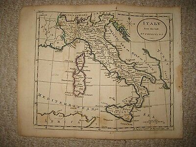 Antique 1790 Italy Copperplate Map Catholic Church Land Sicily Naples Wine Areas