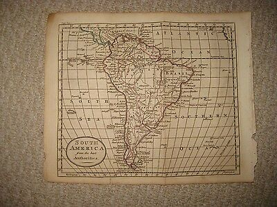 Fine Antique 1790 South America Copperplate Map Terra Firma Amazon Brazil Togo