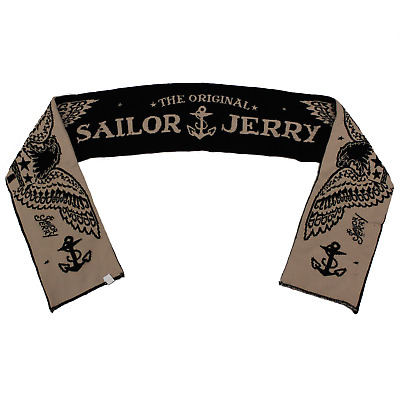 Authentic SAILOR JERRY Eagle Knit Football Reversible Scarf NEW