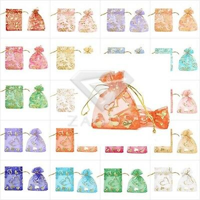 25/50/100/200/500pc Sheer Organza Gift  Bags Wedding Party Jewelry Pouches 7x9cm