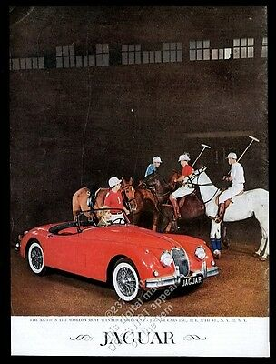 1959 Jaguar XK-150 red roadster car polo pony horse photo vintage print ad