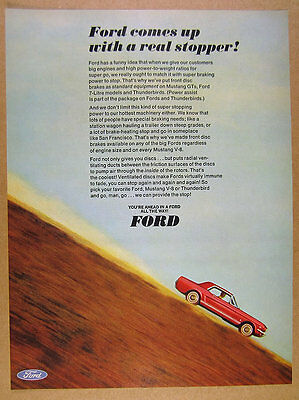 1966 Ford Mustang red hardtop color photo vintage print Ad