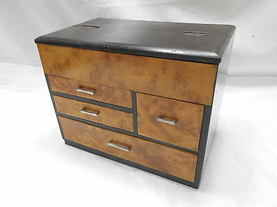 Antique Sugi and Kiri Wood Sewing Box Japanese Drawers C1930s #600