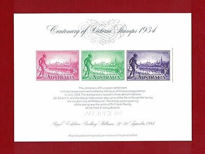 1984 Ausipex Melbourne Imperforate Mini Sheet 1934 Centenary of Victoria Stamps