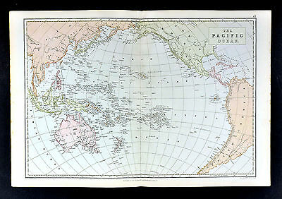 1883 Weller Map - Pacific Ocean Oceania Australia New Zealand Hawaii East Indies