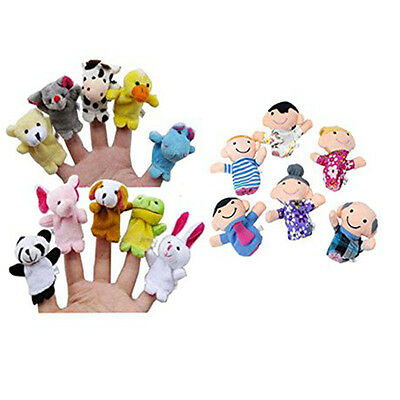 16PCS Story Finger Puppets 10 Animals 6 People Family Members Educational Toy US