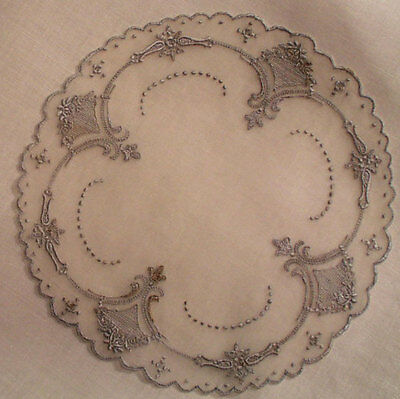 "12 Antique Goblet 5-3/4"" Round Organdy Appenzel Embroidery Cocktail Coasters"