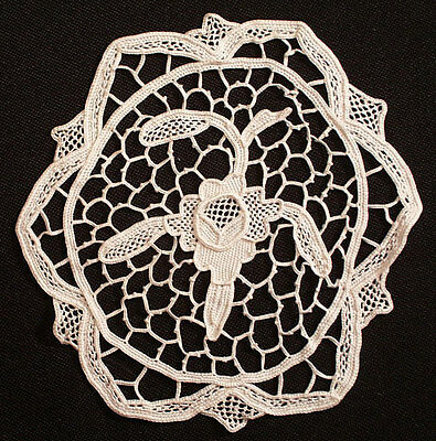 """12 Antique Goblet 5-1/4"""" Round Needlelace Cocktail Coasters"""