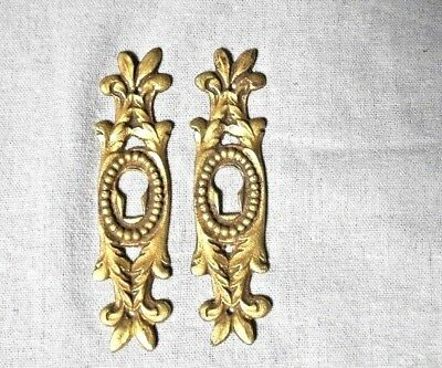 pair French Bronze  Antique PLATES  KEY hole COVERS