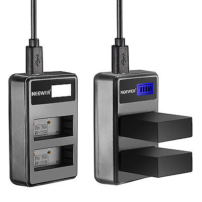 Neewer Portable USB Dual Battery Charger for Fujifilm NP-W126 Battery