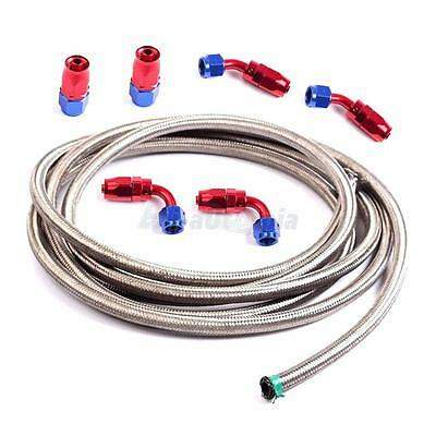 AN6 12Ft Stainless Steel Braided Fuel Line Hose with 6 Swivel Fitting Ends