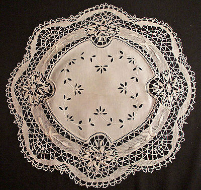 "Lovely Victorian Cluny Lace Doily Centerpiece Raised Floral Embroidery 20"" Round"