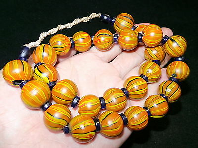 Old Nepal Tibet Tribal Round Colorful Glass Bead Necklace