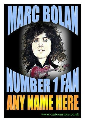"No 1 MARC BOLAN  FAN PERSONALISED- Flexible Fridge Magnet Approx 5"" x 4"""