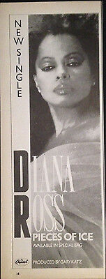 DIANA ROSS. PIECES OF ICE - HALF PAGE ADVERT FROM 1980s No1 MAGAZINE