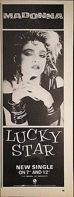 MADONNA. LUCKY STAR - HALF PAGE ADVERT FROM 1980s No1 MAGAZINE