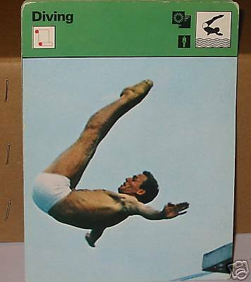 Klaus Dibiasi perfect diving with pike Collector card