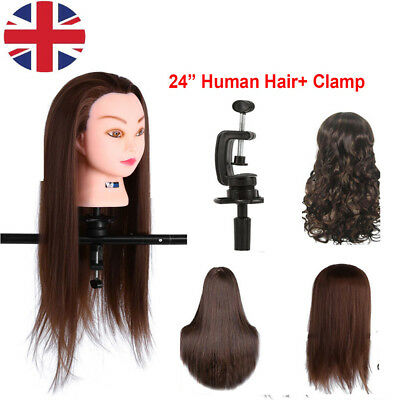 "High Quality 24"" Hairdressing Training Head 30% Long Human Hair Mannequin Doll"