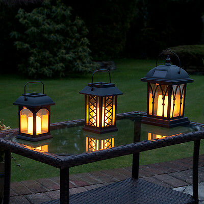 3 Solar Powered Outdoor Garden Patio Table Hanging Candle Lantern Led Lights