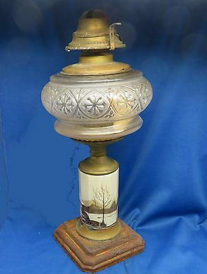 Antique 1868 Composite Oil Lamp Brass Glass Hand Painted Cottage Scene