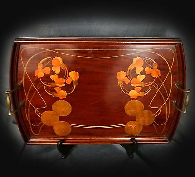 Rare Early Large Art Nouveau Marquetry Serving Tray - Emile Galle??